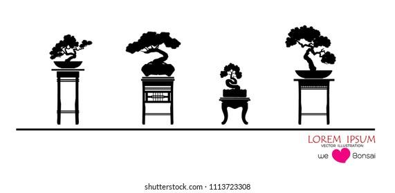 set of Bonsai, Black silhouette of bonsai. Vector illustration. Original bonsai style vector illustrations. Decorative arts Small plant in pot Decorative plants, dwarf trees, ornamental plants