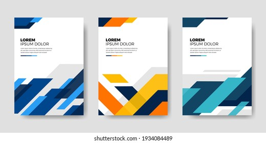 Set of book cover brochure designs in geometric style. Vector illustration.