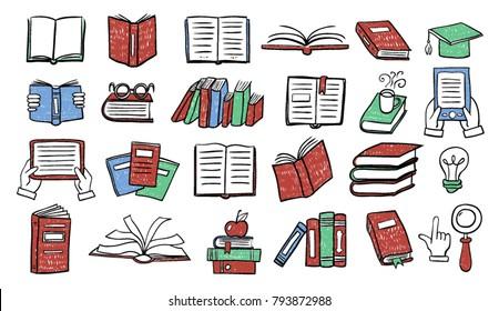 Set of book doodles