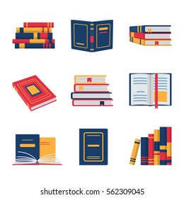 Set of book flat design. Colored books collection isolated on white background, vector illustration.
