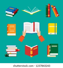 Set of book icons in flat style isolated on blue bacground. Vector hands hold book. Opened notebook and diary with color bookmarks. Stack of literature and documents. Publication, study, learning.