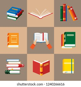 Set of book icons in flat style isolated. Vector hands hold book. Opened notebook and diary with color bookmarks. Stack of literature and documents. Publication, study, learning concept.