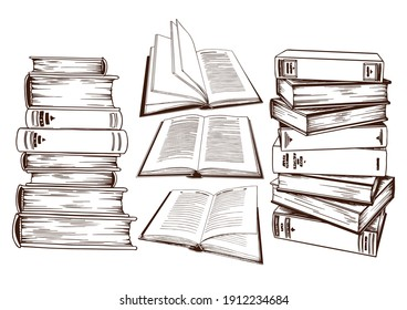 Set of book stacks. Hand drawn vector illustration isolated on white background.