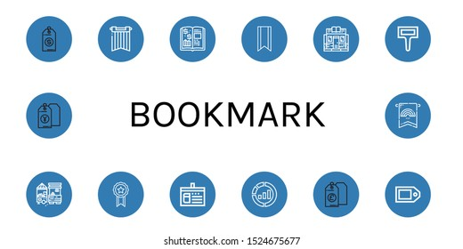 Set of bookmark icons. Such as Price tag, Banner, Finance book, Bookmark, Bookstore, Label, Market, Ribbon, Library card, Marketing , bookmark icons