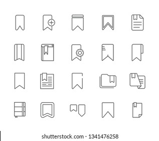 Set of Bookmark tag Related Vector Line Icons. Includes such Icons as book, bookmark, reference, setting, memory, paper, Chapter, paragraph, documents, notebook, note