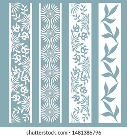 Set of bookmark templates. Panel with a pattern of leaves and flowers. Cut out of paper. Laser cutting, stencil.