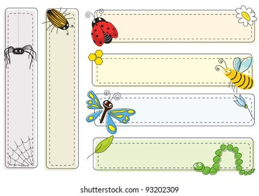 A set of bookmarks and frames with insects
