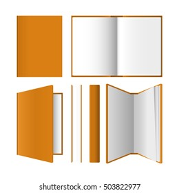 A set of books in different positions. Closed / open / half-open notebook. Realistic vector illustration isolated on white.