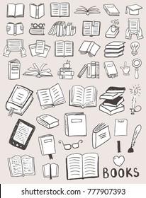Set of books doodles
