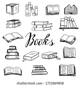 Set of books thick and thin lying horizontally and standing vertically on shelves, open and closed, with bookmarks. Doodle hand drawn isolated objects. Vector illustration on white background
