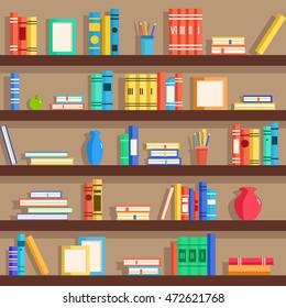 Set of bookshelves. Vector flat illustration. Books on wooden bookshelf. Addition to the interior. Education