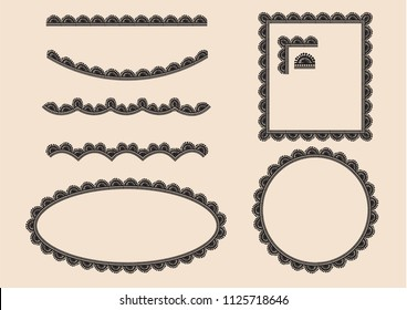 Set of border lace vector by hand drawing.Beautiful line lace on brown background.Rose lace art highly detailed in line art style.Black lace vintage for decoration.