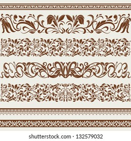 Set of borders and ornaments, in vintage style