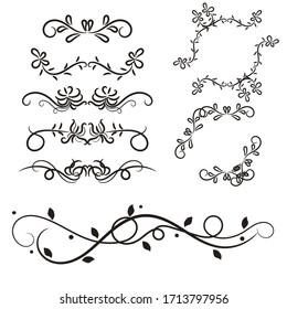 set of borders and swirl dividers decorative elements isolated on white for design