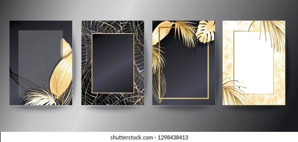 Set of botanical elegant brochure, card, background, cover. White and golden marble texture. Palm, exotic leaves.