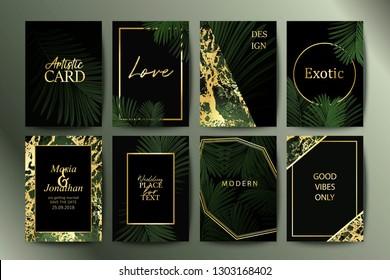 Set of botanical elegant brochure, card, background, cover, invitation.  Golden marble texture. Palm, exotic leaves.