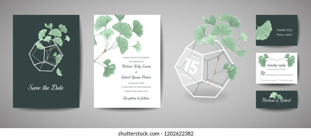 Set of Botanical retro wedding invitation card, modern Save the Date, template design of ginkgo biloba leaves illustration. Vector trendy cover, pastel graphic poster, brochure