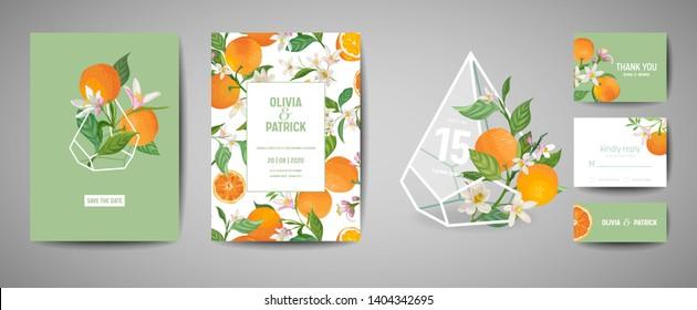 Set of Botanical wedding invitation card, vintage Save the Date, template design of orange fruit, flowers and leaves, blossom illustration. Vector trendy cover, graphic poster, brochure