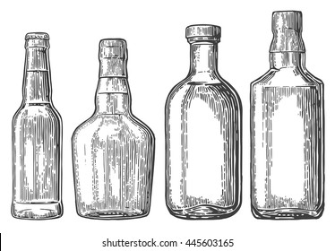Set bottle for beer, rum, whiskey, tequila. Vector vintage engraved illustration isolated on white background.