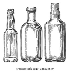 Set bottle for beer, whiskey, tequila. Vector vintage engraved illustration isolated on white background.