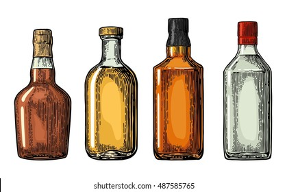 Set bottle for gin, rum, whiskey, tequila. Vector engraved illustration isolated on white vintage background.
