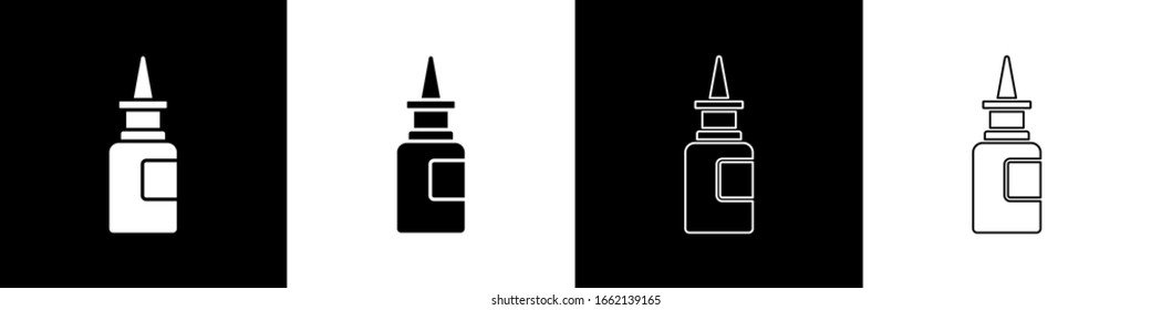 Set Bottle nasal spray icon isolated on black and white background.  Vector Illustration