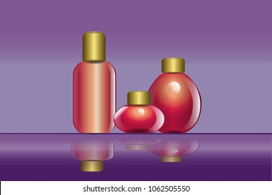 set of bottle with reflect