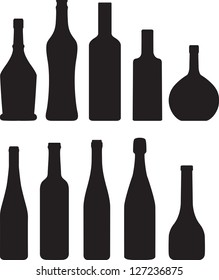 set of bottle silhouette