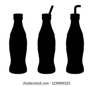 Set bottle of soda water with tube – vector