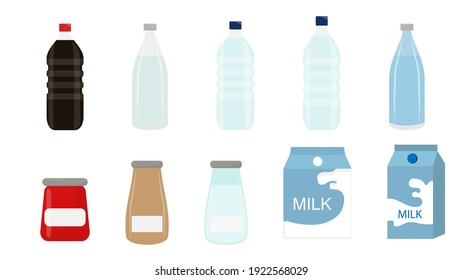 set of bottle water cola soda milk and jam isolated on white vector illustration