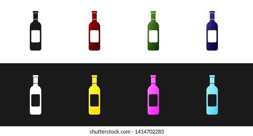 Set Bottle of wine icon isolated on black and white background. Vector Illustration