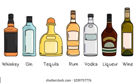 Set of bottles with alcohol: whiskey, gin, tequila, rum, vodka, liqueur, wine