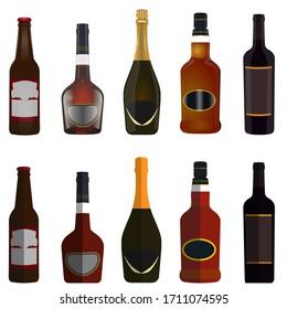 set of bottles for beer, whiskey, brandy, wine, champagne vector illustration
