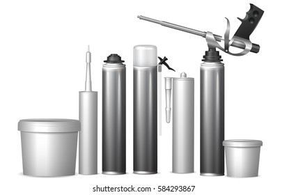 Set with bottles with construction foam, sealant, glue. Mock Up template bottles with building materials for design. Vector  illustration