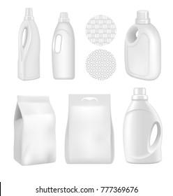 A set of bottles of detergents for washing. Blank plastic bottle for laundry detergent. Vector bottle for your design. Realistic vector image.