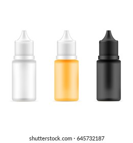 Set of bottles with different colors. Template for medical or cosmetic fluid, drops, oil, juice