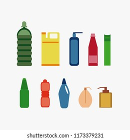 Set of bottles for household chemicals and cleaning supplies, vector