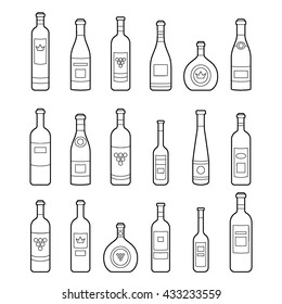 Set of bottles outline. Different kinds of wine. Design elements for banners, markets, alcohol advertising, bars and vineyards. Template for site, menu, infographics