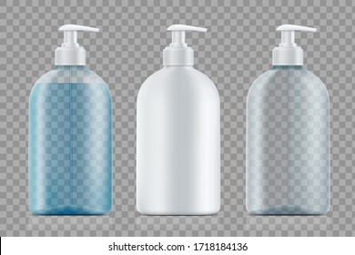 Flaschen mit Seife und Leere. Paket-Vorlage einzeln auf transparentem Hintergrund. Vektorgrafik.