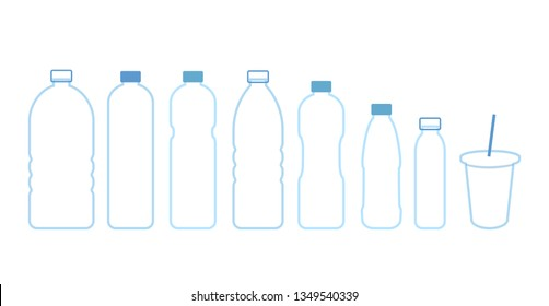 Set bottles water. Vector icon outline. Blue plastic bottles and disposable plastic Cup with a tube.