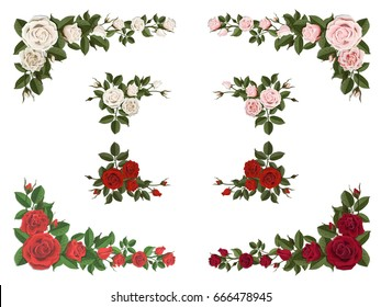 Set of bouquet roses different color for design greeting and wedding cards. Corner element.