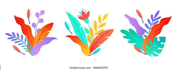Set of bouquets of abstract colorful flowers and leaves. Flat design. Botanical illustration. Vector.