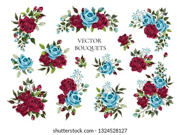 Set of bouquets bordo and navy blue flower roses with green leaves. Floral maroon branch flowers arrangements for wedding invitation save the date or greeting card design. Vector illustration