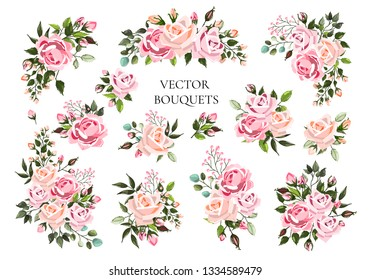Set of bouquets pale pink and peachy flower roses with green leaves. Floral branch flowers arrangements for wedding invitation save the date or greeting card design. Vector illustration
