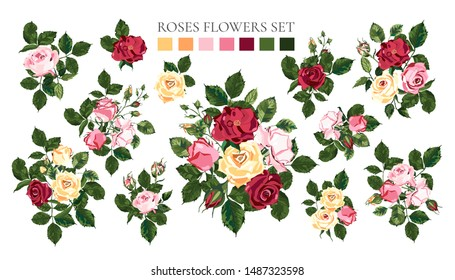 Set of bouquets pale pink red yellow roses flower buds with green leaves. Floral branch arrangements for wedding invitation save the date greeting card design. Botanical vector illustration