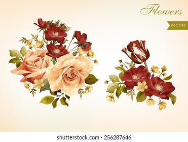 Set of bouquets of roses, can be used as greeting card, invitation card for wedding, birthday and other holiday and  summer background
