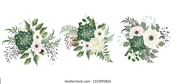 A set of bouquets of succulents, green plants, berries, anemone flowers, white rose. All elements are isolated.