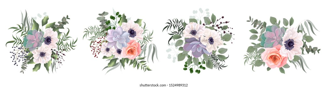 A set of bouquets of succulents, green plants, berries, anemone flowers, pink rose, eucalyptus. Elements for a wedding cake design. All elements are isolated.
