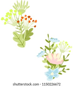 Set of bouquets with wildflowers.  Vector.