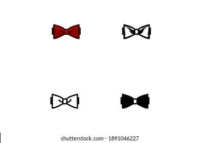 set bow icon isolated on white background, vector illustration